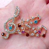 Music Notes Treble Clef Gold Color Rhinestone Alloy Cell Phone DIY Decoration Flatback Decoden (TDK-B1180)