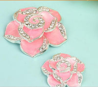 2 Piece PINK Camellia Flower Rhinestone Silver Alloy Cell Phone Decoration Flatback Decoden TDK-B1183