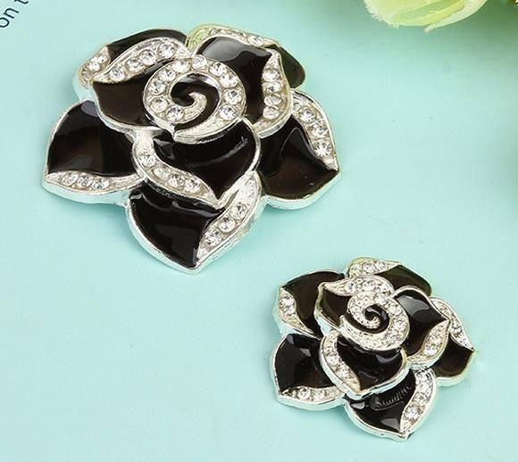 2 Piece BLACK Camellia Flower Rhinestone Silver Alloy Cell Phone Decoration Flatback Decoden