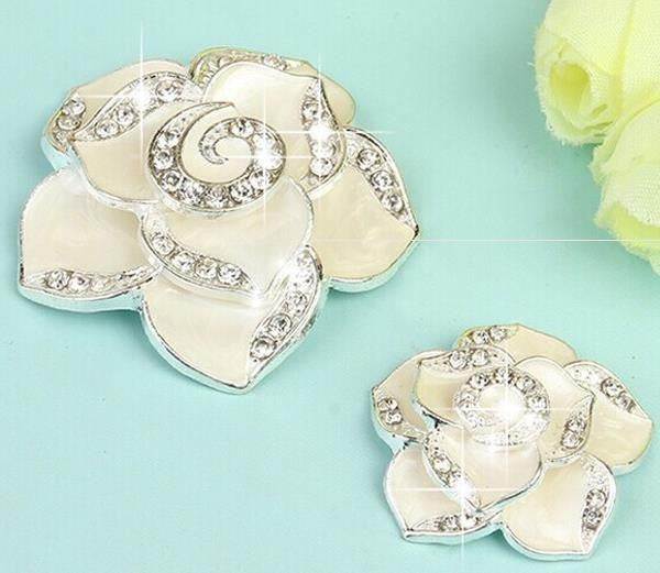 2 Piece White Camellia Flower Rhinestone Silver Alloy Cell Phone Decoration Flatback Decoden