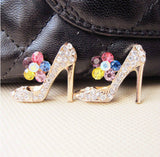High Heel Shoe Color Rhinestone Gold Alloy Cell Phone Decoration Flatback Decoden Bling