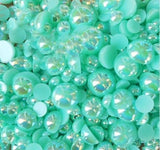 8mm Seafoam Green AB Resin Round Flat Back Loose Pearls - 500pcs