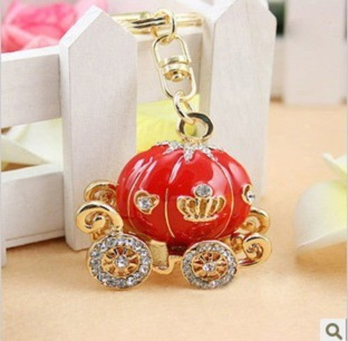 Cinderella MINI Pumpkin Carriage Rhinestone Bling Cabochon Decoden DIY Phone Accessory - RED (TDK-B1203)
