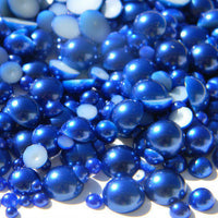 2-10mm (30g/500pcs) ROYAL BLUE Resin Flatback Half Round Pearls (TDKPR1402) - TheDecoKraft