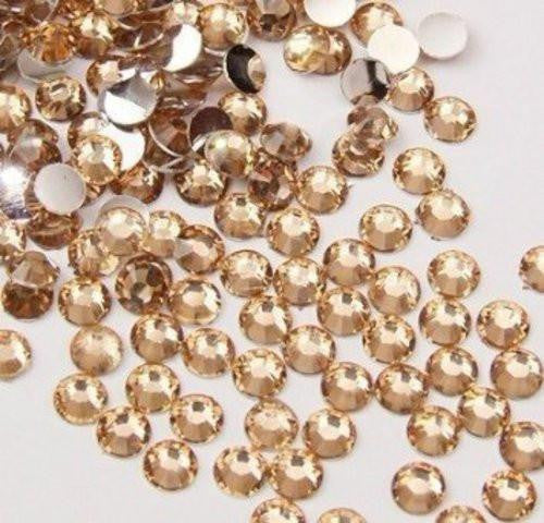 6mm Champagne Resin Round Flat Back Loose Rhinestones