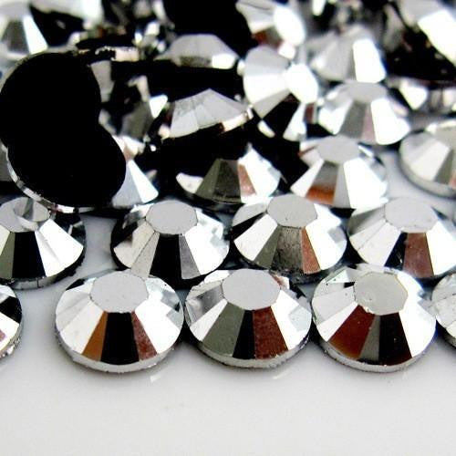 6mm Hematite Resin Round Flat Back Loose Rhinestones Non Hotfix