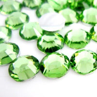 4mm Peridot Light Green Resin Round Flat Back Loose Rhinestones