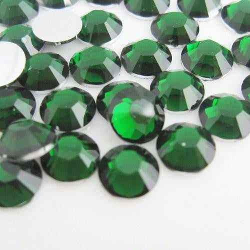 5mm Emerald Green Resin Round Flat Back Loose Rhinestones