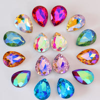 18x25mm AB Glass Teardrop Pointback Chatons Rhinestones - 5pcs
