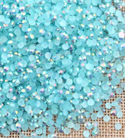 2mm Aquamarine AB Jelly Round Flat Back Loose Rhinestones