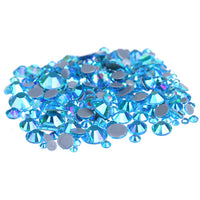 Mixed Aquamarine AB Glass Round Flat Back Loose HOTFIX Rhinestones - 400pcs