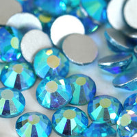 SS6/2mm Aqua AB Glass Round Flat Back Loose Rhinestones - 1440pcs