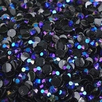 4mm Black AB Jelly Resin Round Flat Back Loose Rhinestones