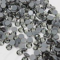 SS30/6mm Black Diamond Gray Glass Round Flat Back Loose HOTFIX Rhinestones - 288pcs