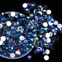 4mm Blue AB Round Flatback Loose Resin Rhinestones