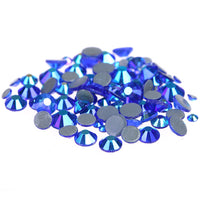 Mixed Sapphire Blue AB Glass Round Flat Back Loose HOTFIX Rhinestones - 400pcs