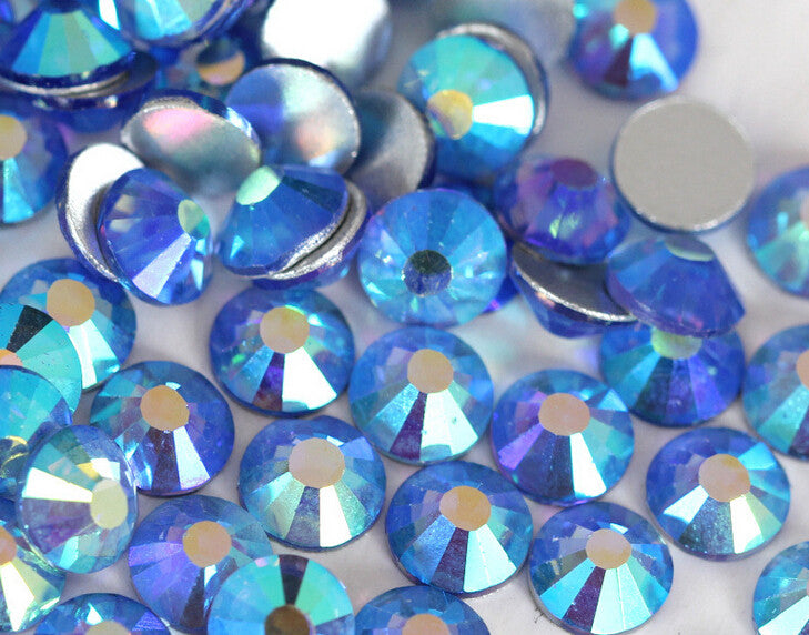 Blue AB Glass Rhinestones - SS6, 1440 pieces - 2mm Flatback, Round, Loose Bling - TheDecoKraft - 1
