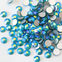 ss3/1mm Blue Zircon AB Glass Round Flat Back Loose Rhinestones - 1440pcs