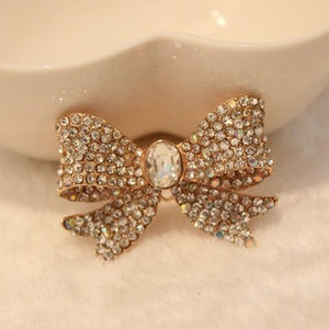 Gold Bow with Crystal AB Rhinestones Bling Cabochon Alloy Metal Decoden (TDK-B1062)
