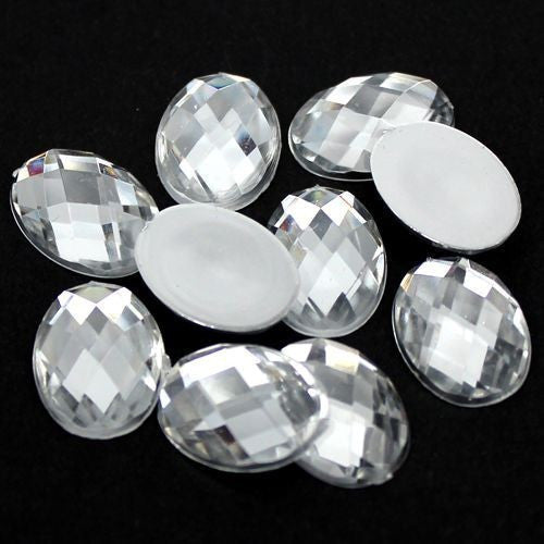 20 Piece 18x25mm Clear Oval Acrylic Mosaic Flatback Shaped Rhinestones, Bling, Decoden (TDK-R1601) - TheDecoKraft