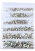 SS3-SS10/1-3mm Crystal Clear AB Glass Round Flat Back Rhinestones Mixed Set - 1680pcs
