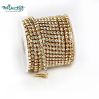 10 Yards Crystal Clear Glass in GOLD Setting Rhinestone Cup Chain - 2mm/3mm/4mm