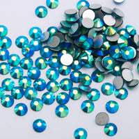 SS30/6mm Capri Blue AB Glass Round Flat Back Loose Rhinestones - 288pcs