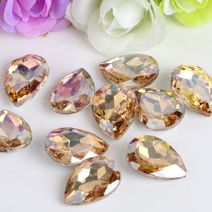 10x14mm Champagne Glass Teardrop Pointback Chatons Rhinestones - 10pcs