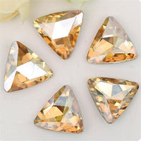 14mm Champagne Glass Triangle Pointback Chatons Rhinestones - 10pcs