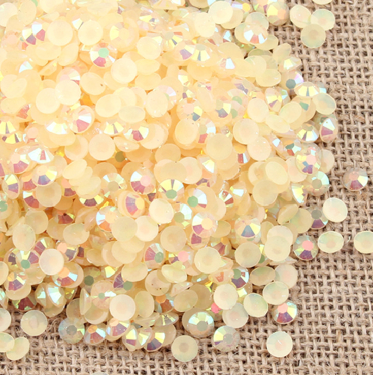 6mm Champagne AB Jelly Resin Round Flat Back Loose Rhinestones
