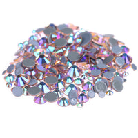 Mixed Champagne AB Glass Round Flat Back Loose HOTFIX Rhinestones - 400pcs