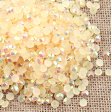 5mm Champagne AB Jelly Resin Round Flat Back Loose Rhinestones