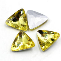 14mm Yellow Glass Triangle Pointback Chatons Rhinestones - 10pcs