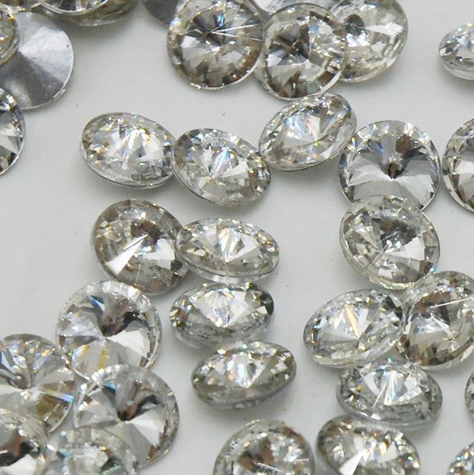 18mm Clear Glass Round Pointback Chatons Rhinestones - 10pcs