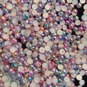 6mm Mix Color Pearls Resin Round Flat Back Loose Pearls