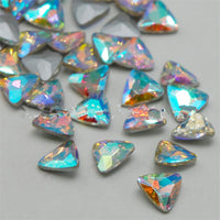 14mm Clear AB Glass Triangle Pointback Chatons Rhinestones - 10pcs