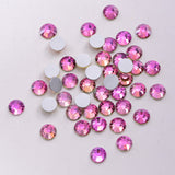 SS12/3mm Pink Rainbow Glass Round Flat Back Loose Rhinestones - 1440pcs