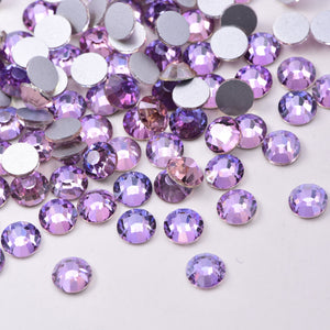 SS30/4mm Violet Glass Round Flat Back Loose Rhinestones - 288pcs