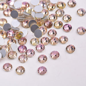 SS30/6mm Pink Champagne Glass Round Flat Back Loose Rhinestones - 288pcs