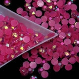 6mm Dark Pink AB Jelly Round Flat Back Loose Rhinestones Non Hotfix