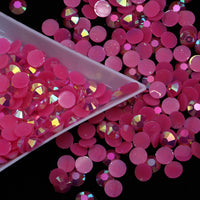 2-6mm Mixed Dark Pink Jelly Resin Round Flat Back Loose Rhinestones