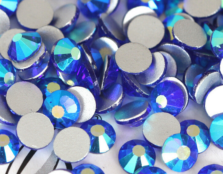 Dark Blue AB Glass Crystal Glass Rhinestone - SS12, 1440 pieces - 3mm Flatback, Round, Loose Bling - TheDecoKraft - 1