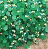 3mm Dark Green AB Jelly Resin Round Flat Back Loose Rhinestones