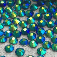 ss3/1mm Emerald AB Glass Round Flat Back Loose Rhinestones - 1440pcs