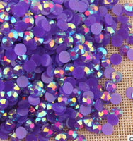 4mm Purple AB Jelly Resin Round Flat Back Loose Rhinestones