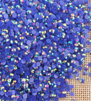 4mm Dark Blue AB Jelly Resin Round Flat Back Loose Rhinestones