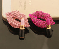 Fuchsia Lips and Lipstick Alloy Rhinestone Gold Decoden Kawaii Cabochon (TDK-B1036)