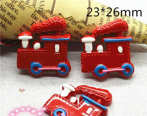 3 Pieces Red Tank Engine Steam Train Cabochons - Kawaii Decoden Flatback (TDK-C1461) - TheDecoKraft