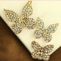 Butterfly Trio Rhinestones Gold Bling Flatback Cabochon Alloy Metal Decoden