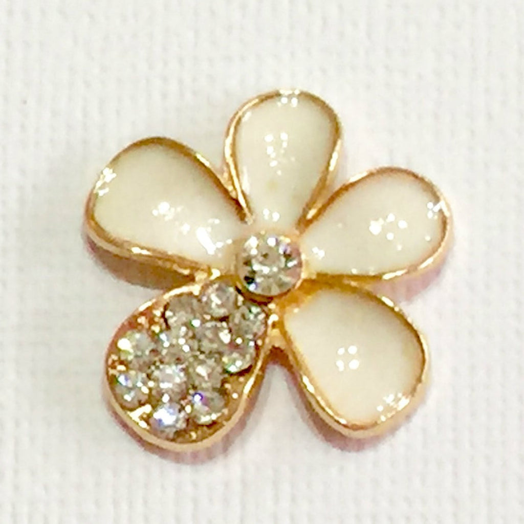 Flower Gold & White with Rhinestone Bling Cabochon Alloy Metal Decoden (TDK-B1035)